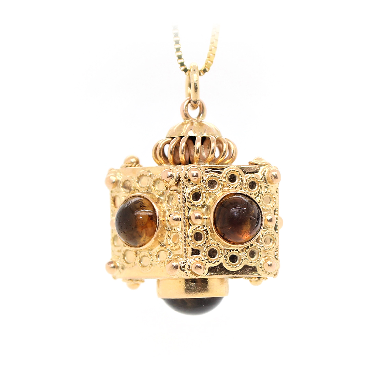 Vintage 18 Karat Yellow Gold Citrine Six Sided Pendant Necklace