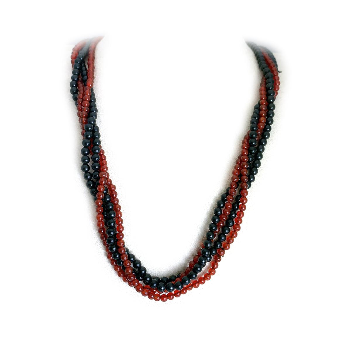 Vintage Carnelian and Onyx Four Bead Strand Set
