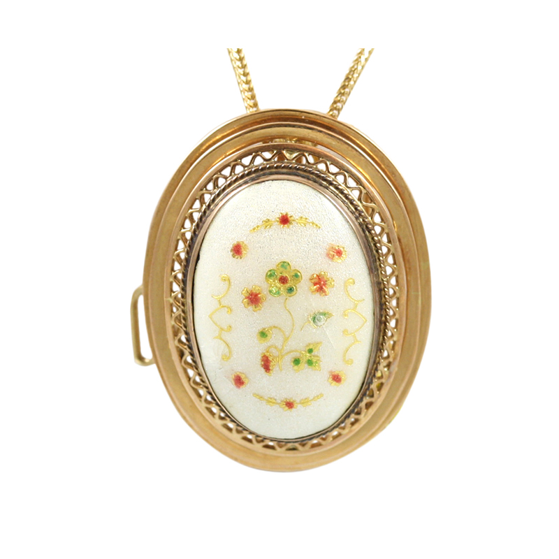 This Beautiful 14 Karat Yellow Gold Handpainted Oval Can Be Used Has A Broch Or Pendant.