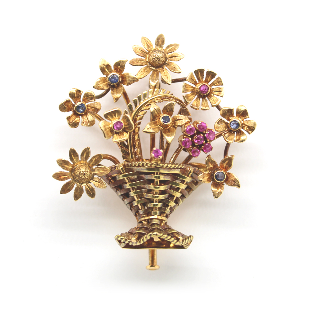 Estate Yellow Gold Sapphire Flower Brooch