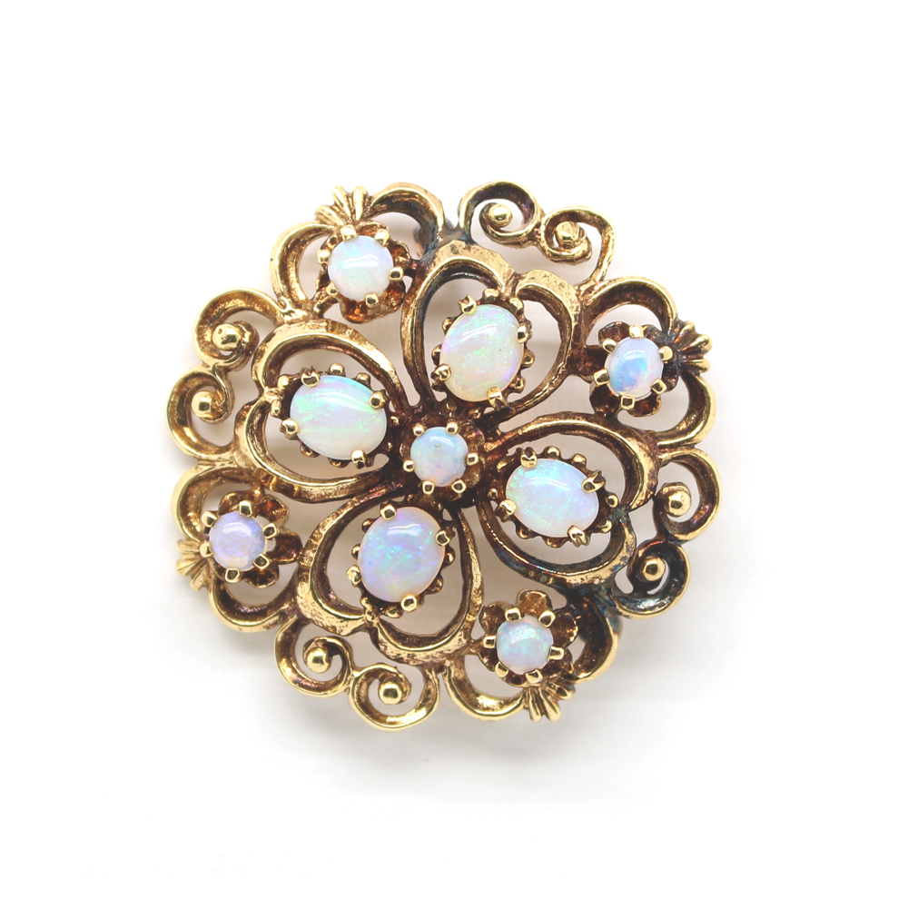 Estate 10 Karat Yellow Gold Natural Blue Zircon Pin
