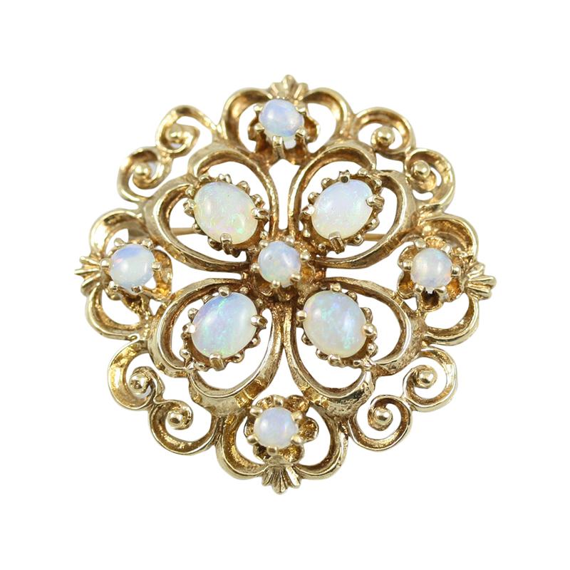Estate 14 Karat Yellow Gold, round filigree opal Brooch.