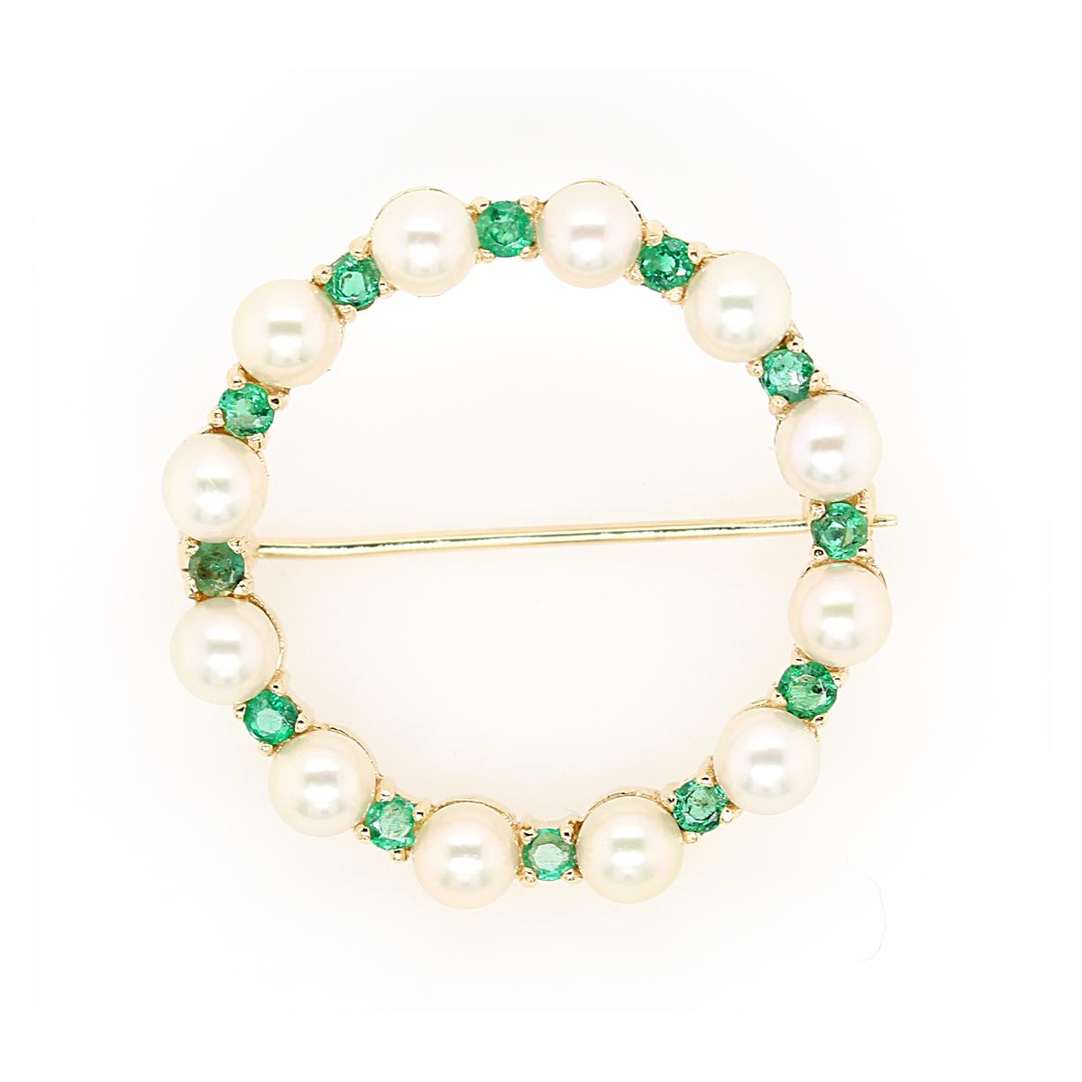 Vintage Lady's 14 Karat Yellow Gold Emerald and Pearl Circle Pin