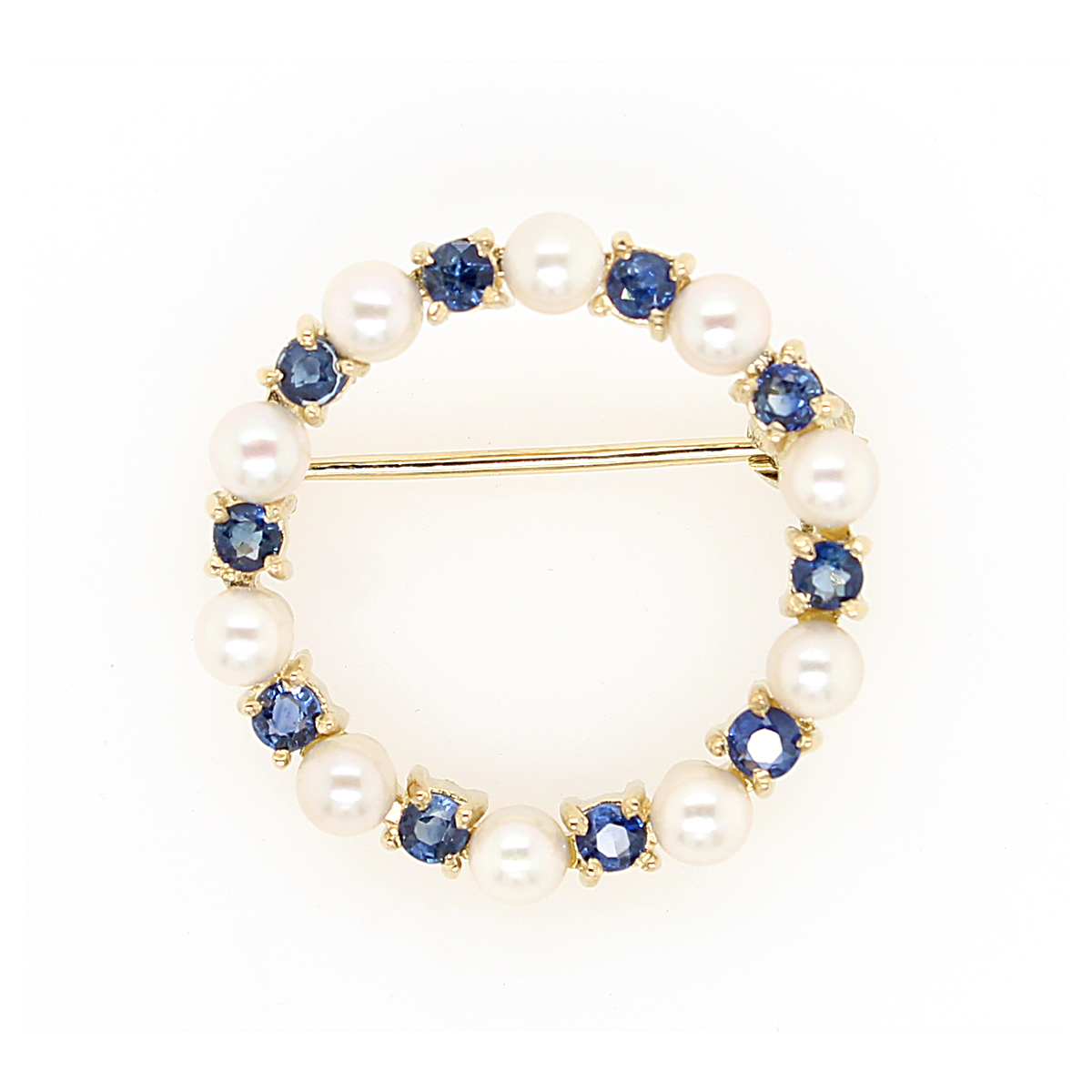 Vintage 14 Karat Yellow Gold Pearl and Blue Sapphire Circle Pin