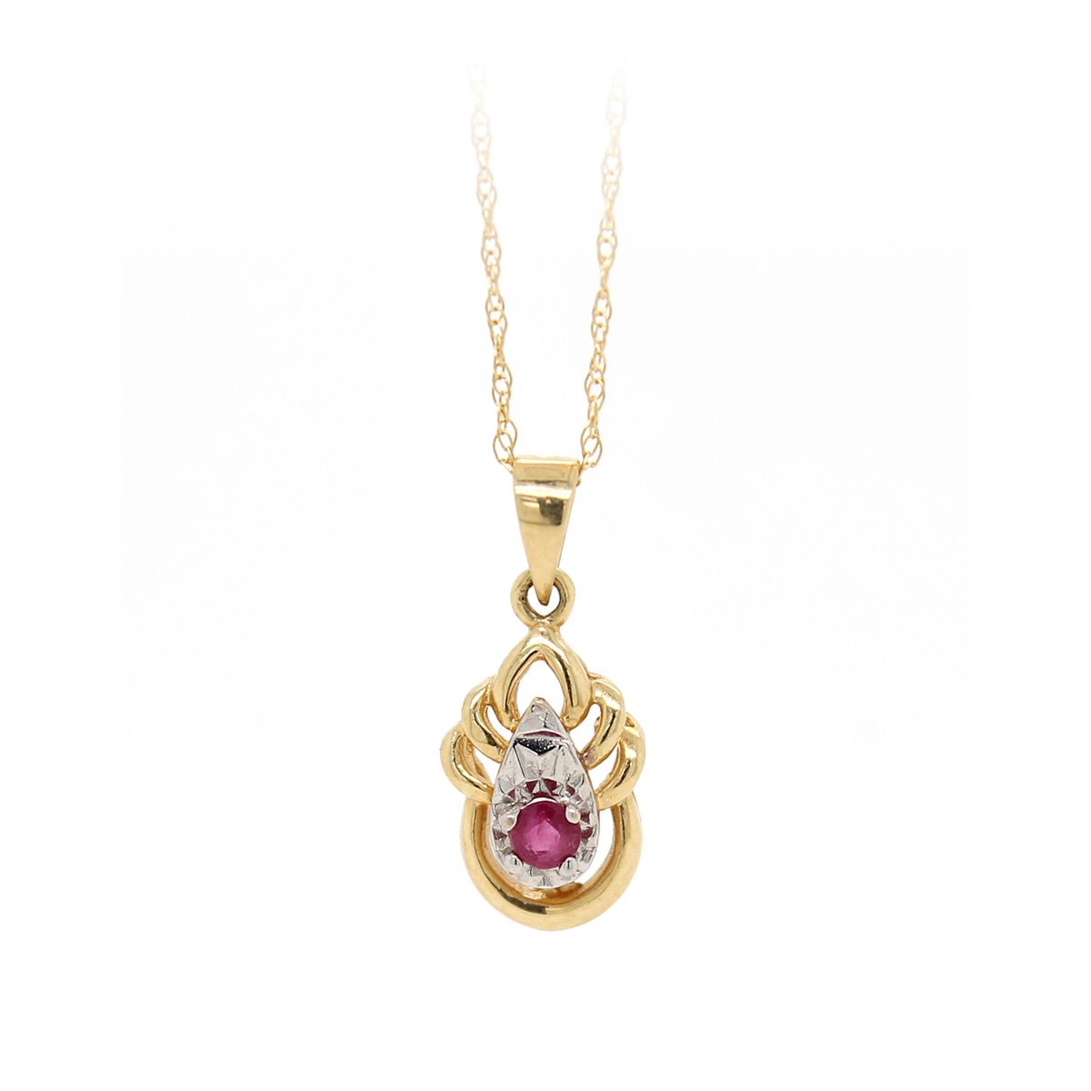 Vintage 14 Karat Rose Gold Ruby Pendant Necklace