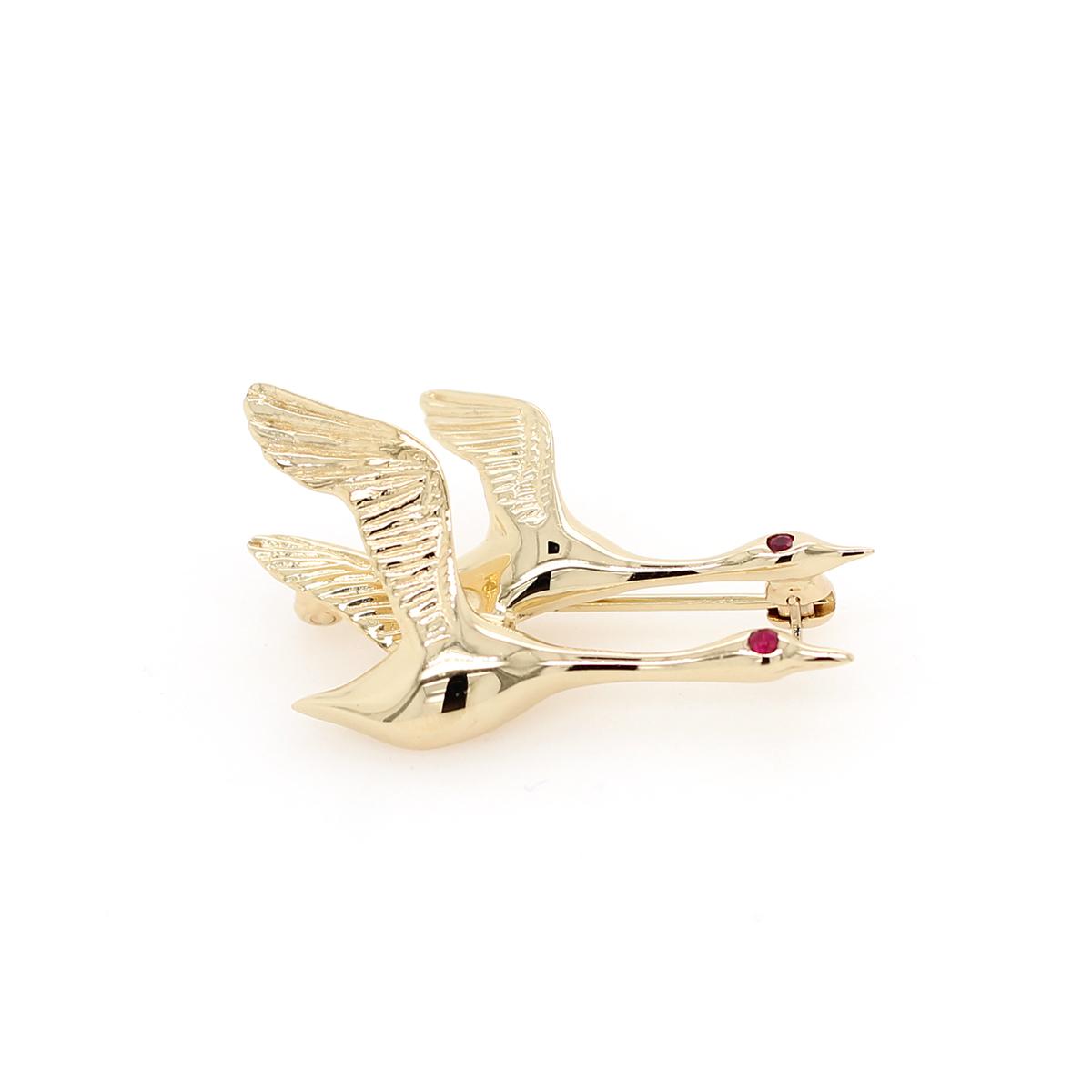 Vintage 14 Karat Yellow Gold Ruby Flying Geese Pin