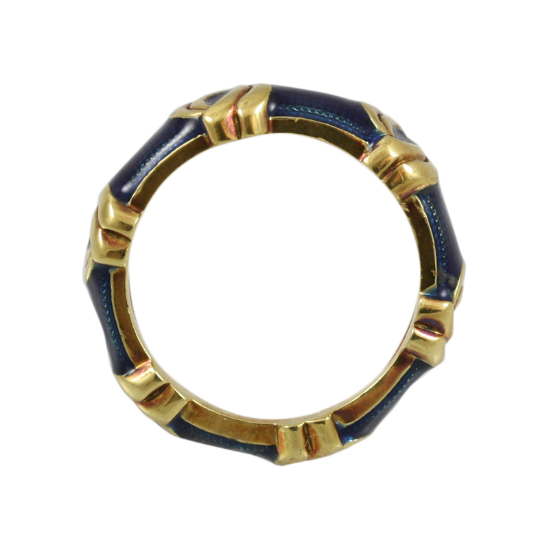 This Gorgeous Hidalgo 18 Karat Yellow Gold And Blue Enamel Band Makes A Strong Statement.