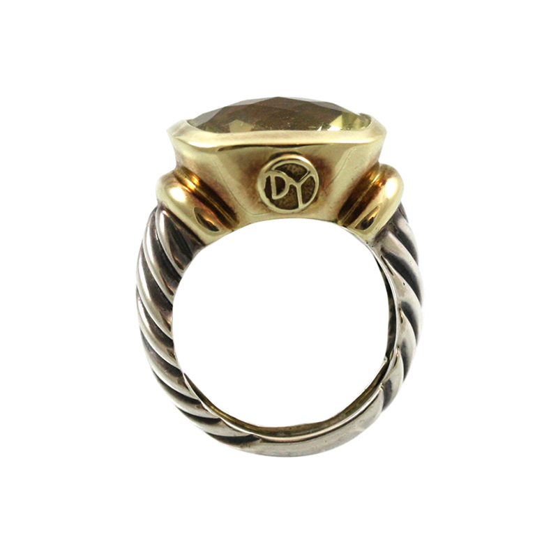 This David Yurman Estate 14 Karat Yellow Gold Sterling Silver And Citrine Ring Makes A Strong Statement.