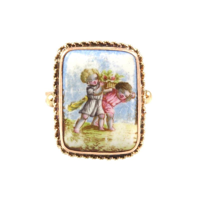 Vintage 14 Karat Rose Gold Painted Porcelain Ring