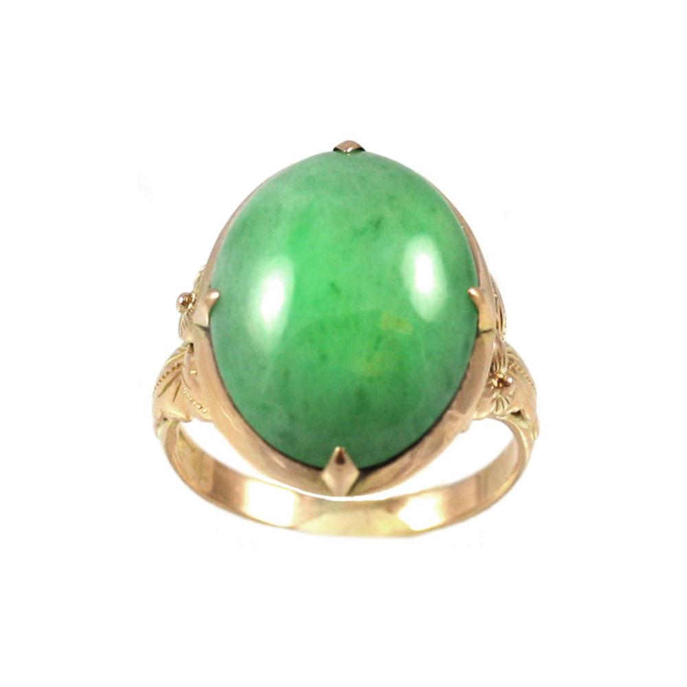 Vintage 18 Karat Yellow Gold Cabochon Jade Ring