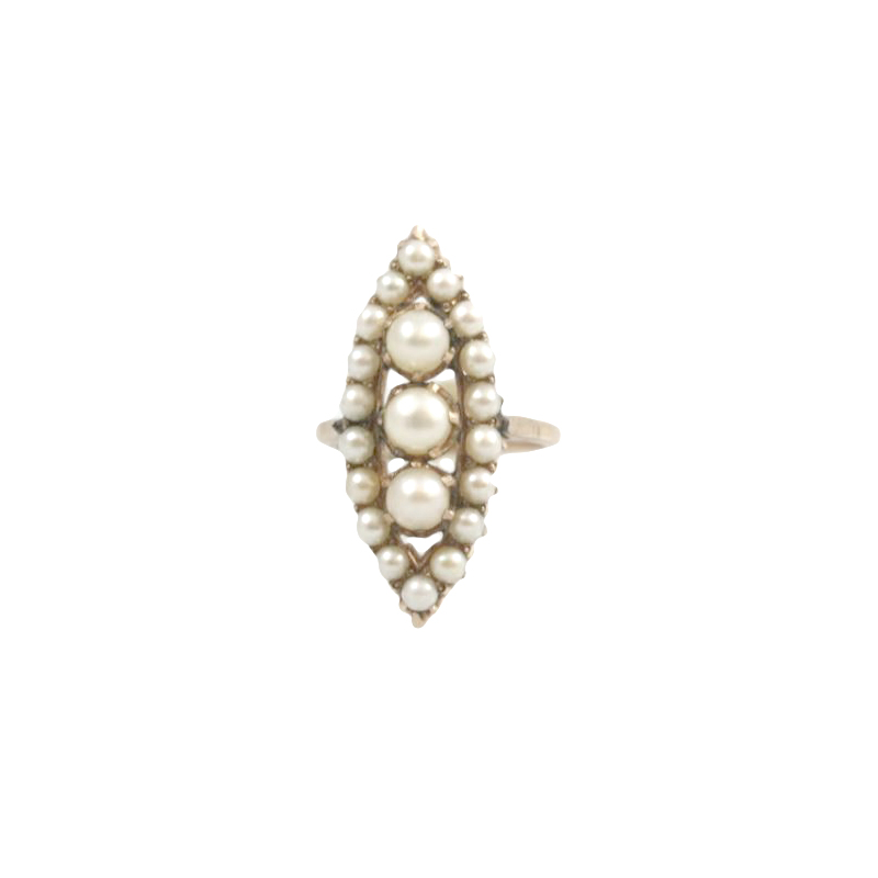 Vintage 14 Karat Yellow Gold Navene Pearl Ring