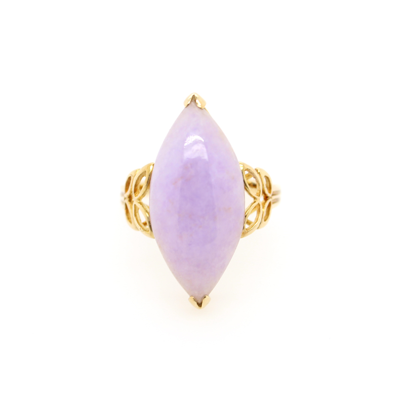 Vintage 14 Karat Yellow Gold Lavender Quartz Ring