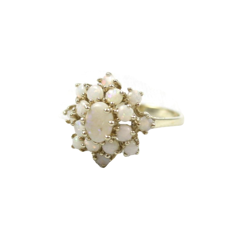 Estate 10 Karat Yellow Gold Opal Cluster Ring