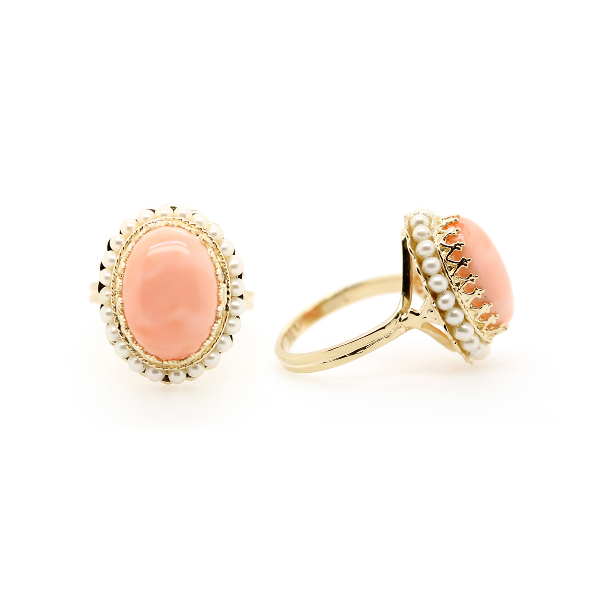 Vintage 14 Karat Yellow Gold Angel Skin Coral and Freshwater Pearl Ring