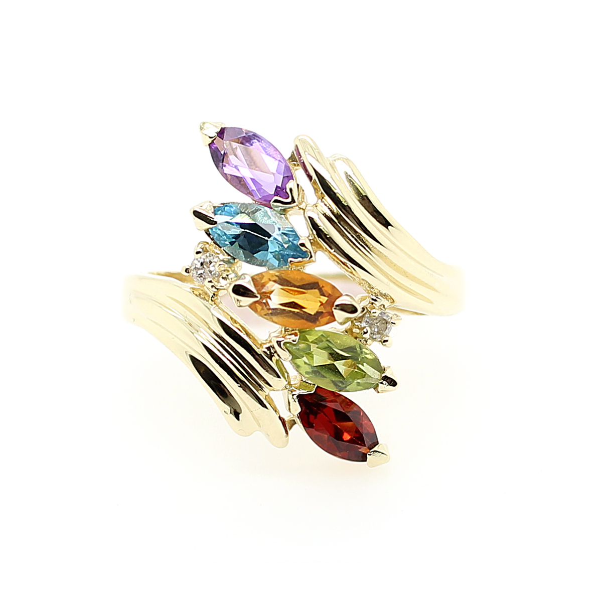 Vintage 14 Karat Yellow Gold Multicolored Stone and Diamond Bypass Ring