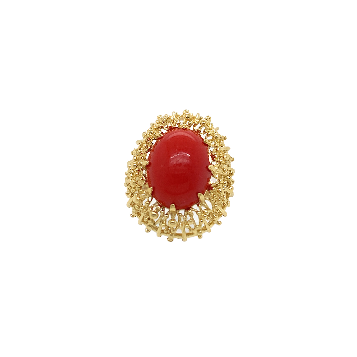 Vintage Ox Blood Coral Domed Ring