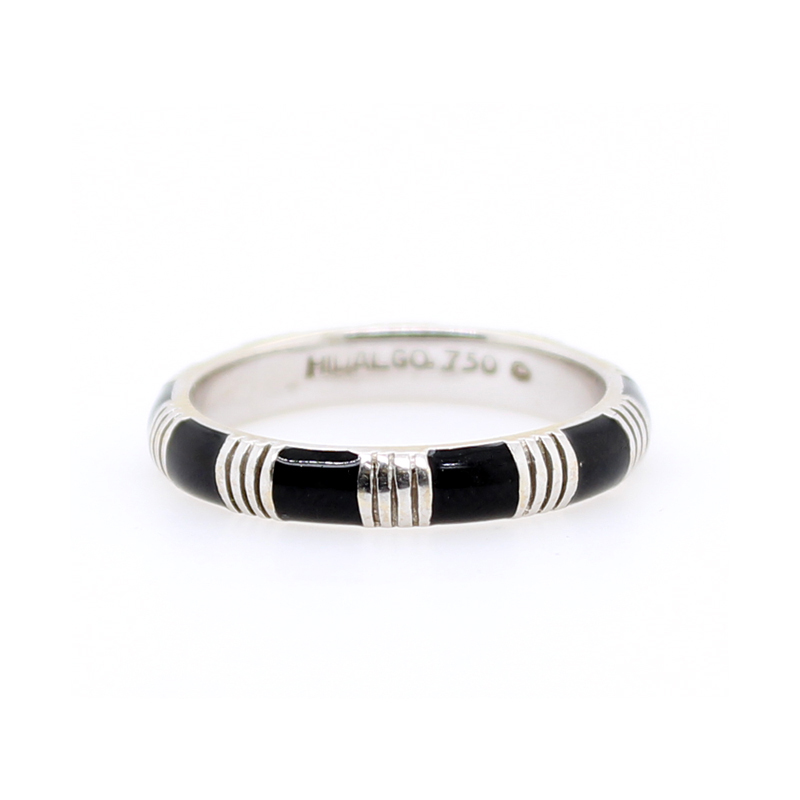 Vintage 18 Karat White Gold Hidalgo Black Enamel Band