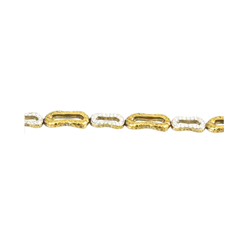 Seiden Gang 18 Karat Yellow Gold And Diamond Link Estate Bracelet.