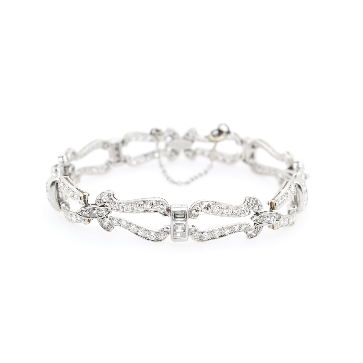 Estate Platinum Diamond Deco Bracelet