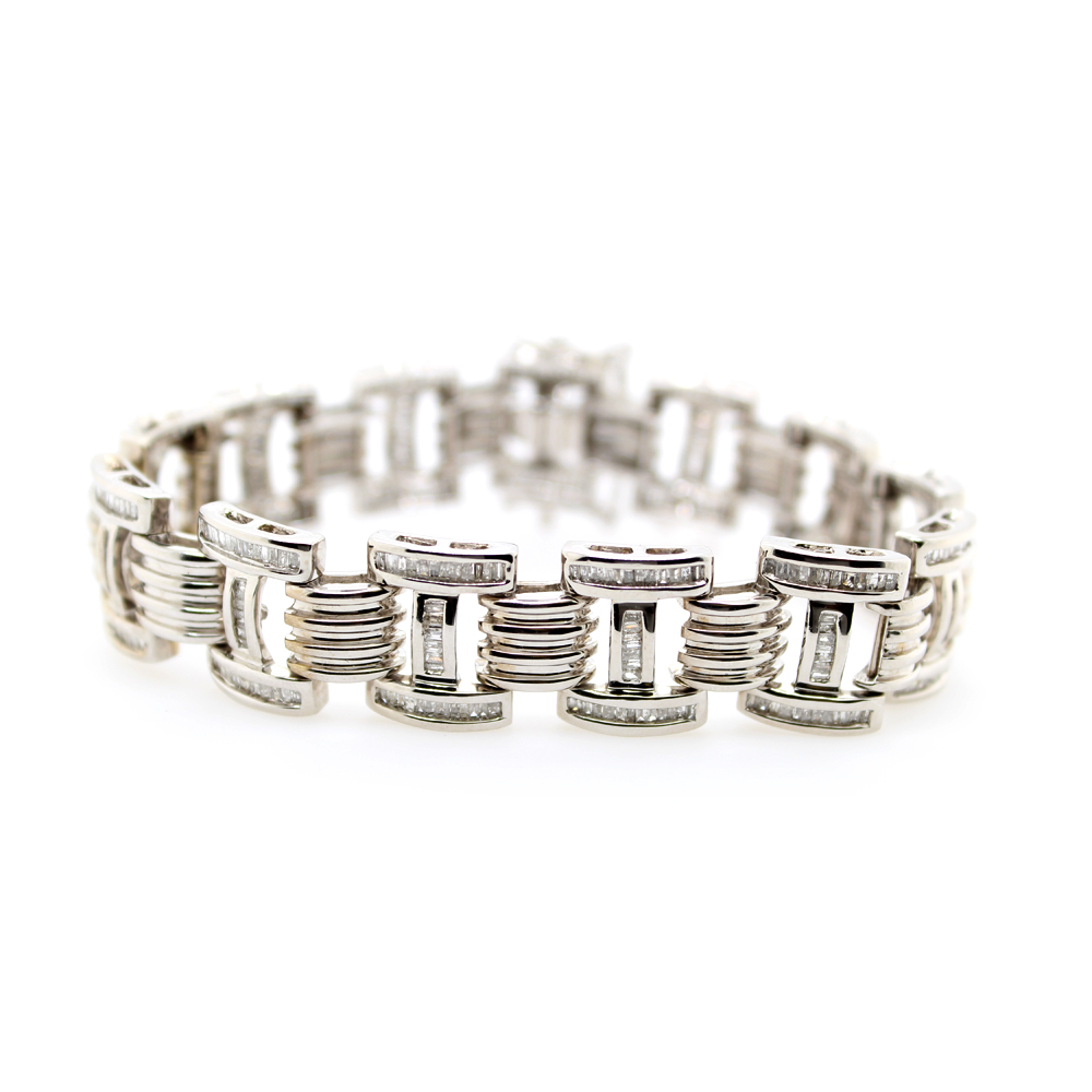 Vintage 14 Karat White Gold Diamond Link Bracelet