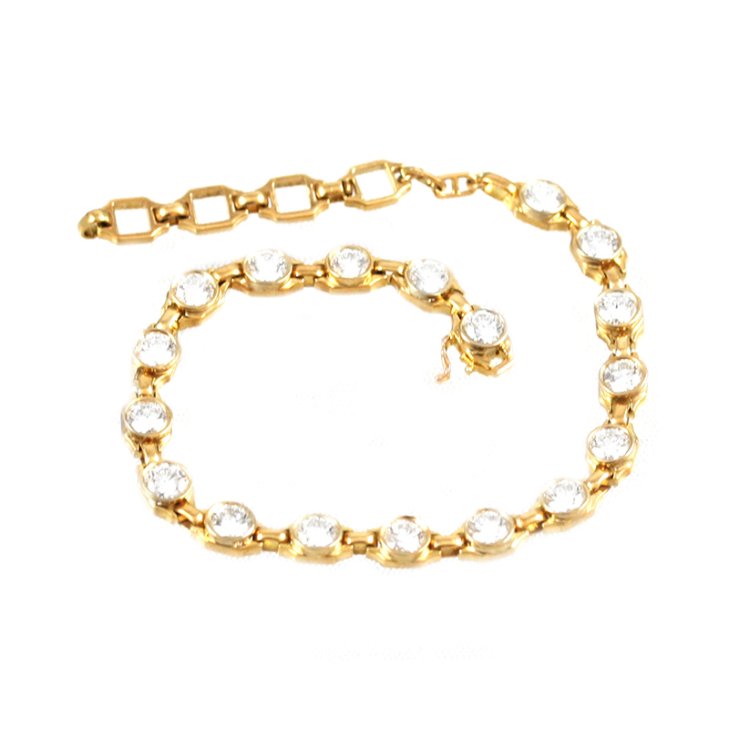 Estate 18 Karat yellow gold add a diamond link bracelet.