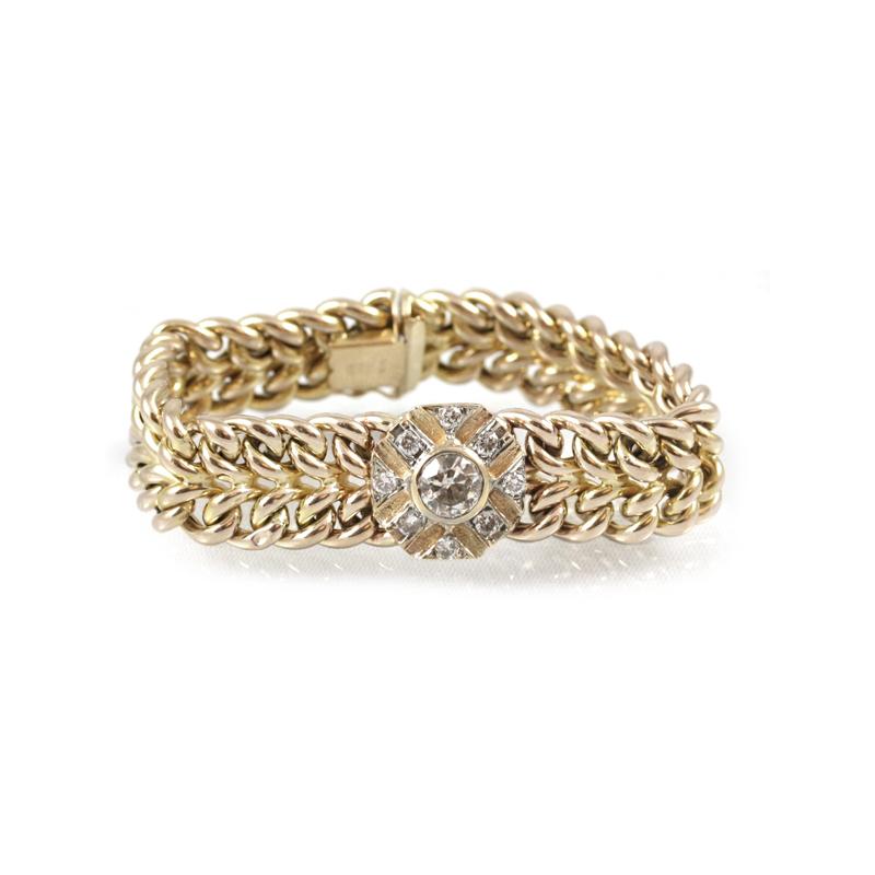 Estate 14 Karat Yellow Gold Two Row Bracelet with Diamond Center Section
