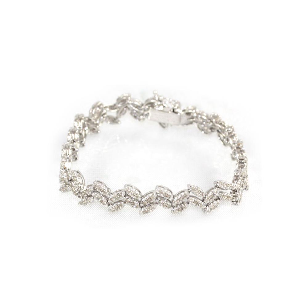 Estate 18 Karat White Gold Diamond Two Row Leaf Bracelet