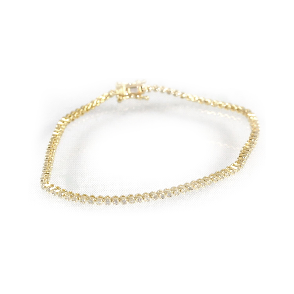 Estate 18 Karat Yellow Gold Diamond Tennis Bracelet