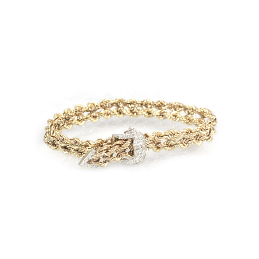 Estate 14 Karat Yellow Gold Diamond Buckle Bracelet