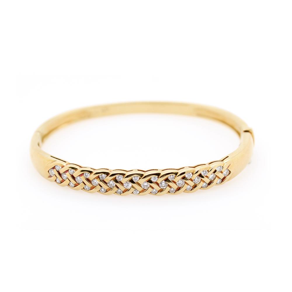 Vintage 18 Karat Yellow Gold Diamond Bangle Bracelet