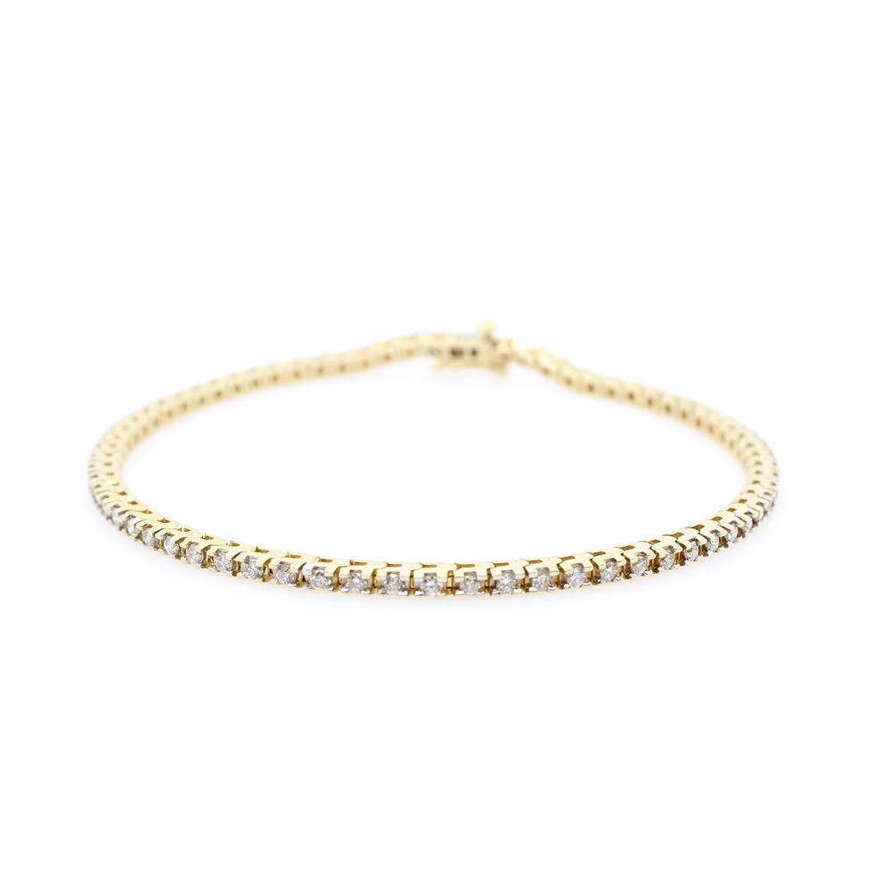 Estate 14 Karat Yellow Gold Diamond Link Bracelet