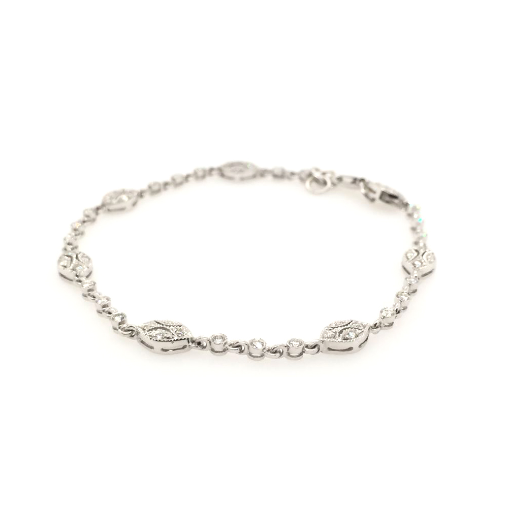 Estate 14 Karat White Gold Diamond Oval Station Bracelet