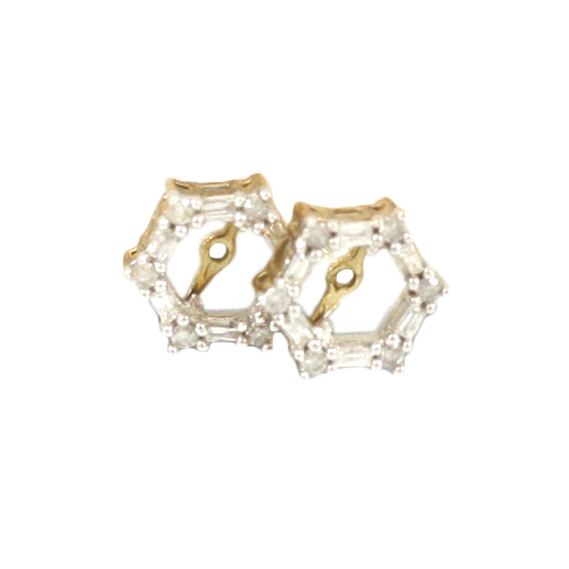 The Perfect Addition To Stud Earrings Are These Ladys 10 Karat Yellow Gold Hexagon Shaped Diamond Earring Jackets.