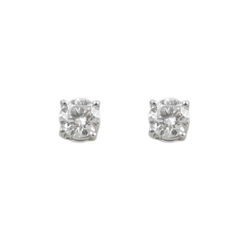 These Ladys 14 Karat White Gold Diamond Solitaire Earrings Are Classics! Each Earring Contains One Round Brilliant Diamond Prong Set Measuring 1X4.