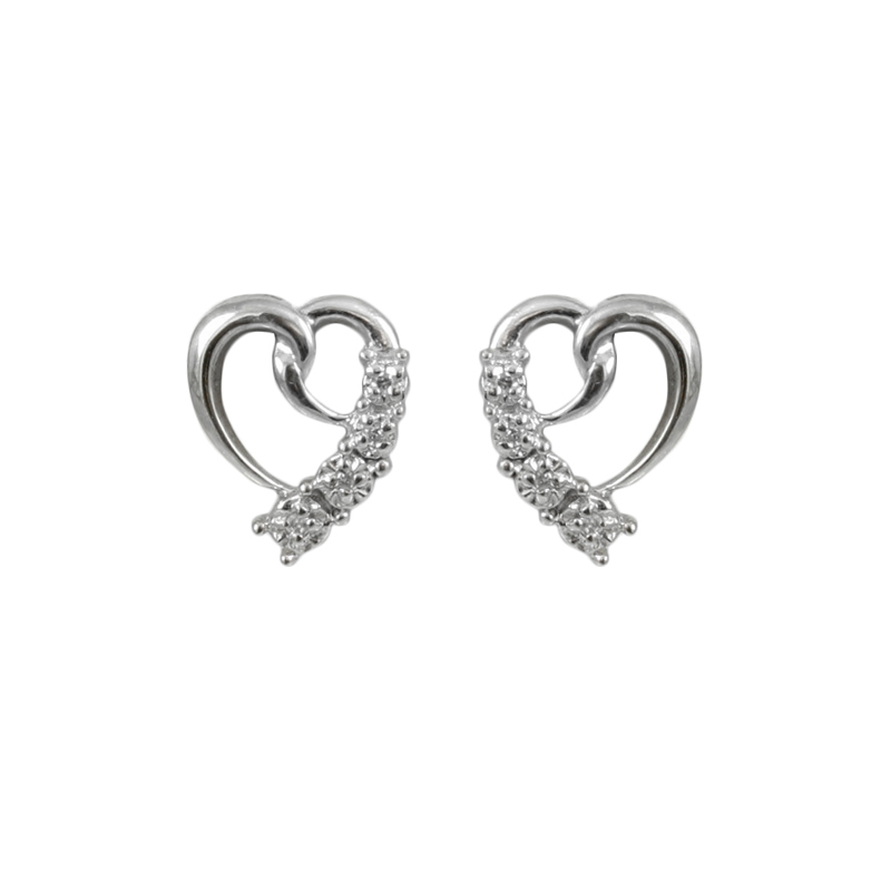 Romantically Designed Ladys 10 Karat White Gold Diamond Open Heart Earrings.
