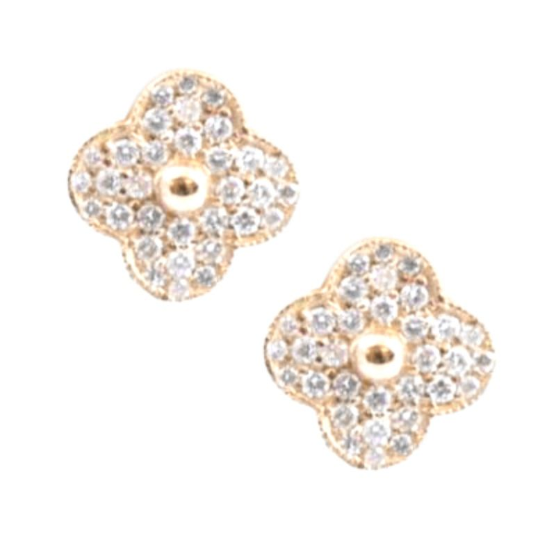 Vintage 14 Karat yellow gold and diamond clover stud earrings.
