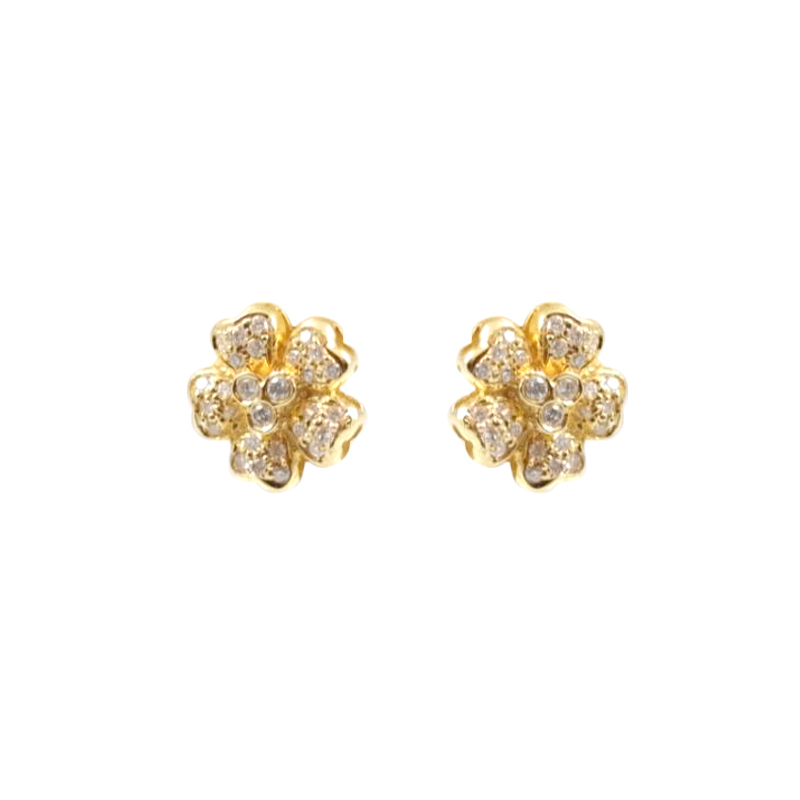Estate 14 Karat yellow gold and diamond earrings.
