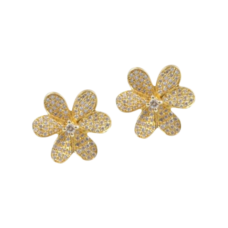 Estate 14 Karat yellow gold and diamond flower stud earrings.