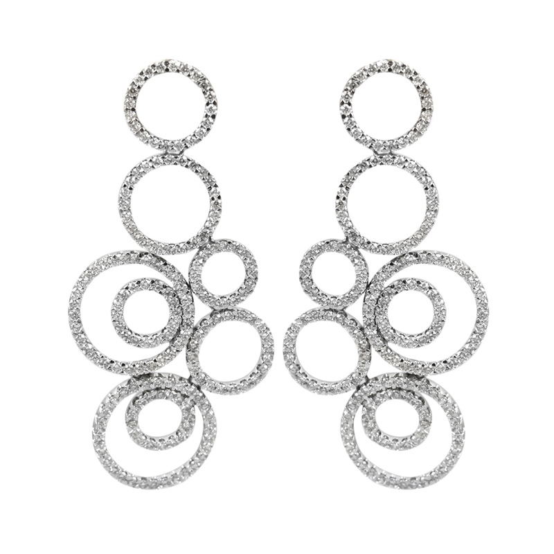 Estate 18 Karat White gold and diamond earrings.