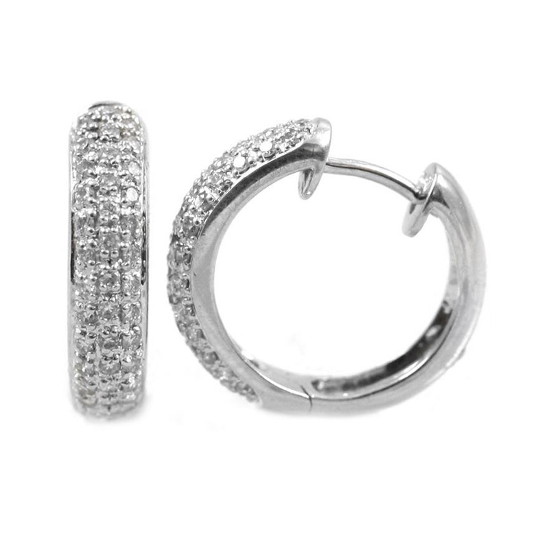 Estate 14 Karat white gold and diamond hinge hoop earrings.