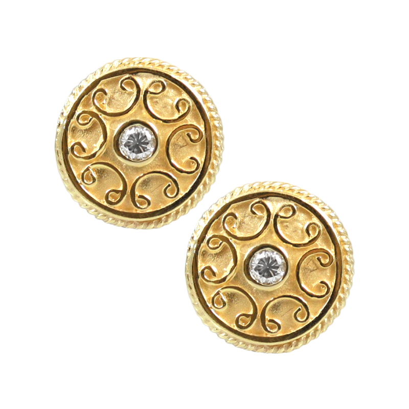 Estate 18 Karat yellow gold and diamond hand engraved circle earrings.