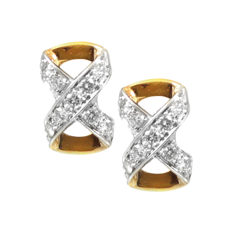Estate 14 karat white gold, yellow gold and diamond X clip on earrings.