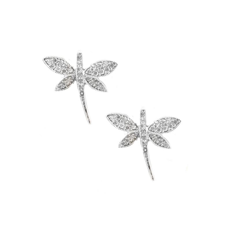 Vintage 14 Karat white gold and diamond dragon fly earrings.