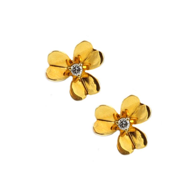 Vintage 14 Karat yellow gold and diamond clover earrings.