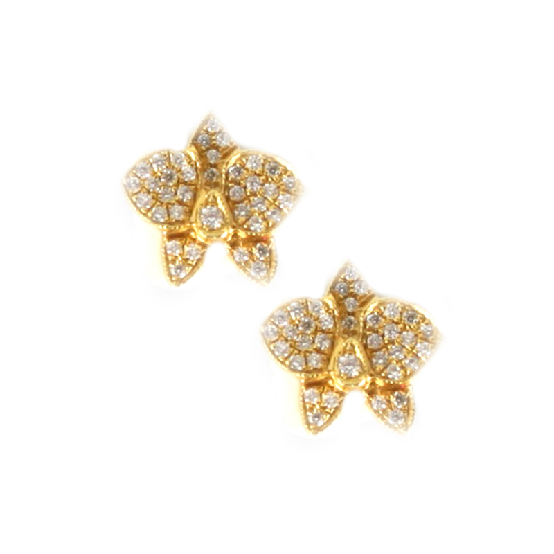 Vintage 14 Karat yellow gold and diamond butterfly earrings.