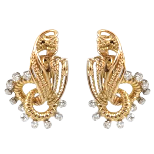 Estate 18 Karat Yellow Gold Diamond Curved Strand earrings