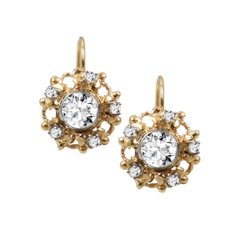 Estate 14 Karat yellow gold and diamond filigree earrings on French wire.