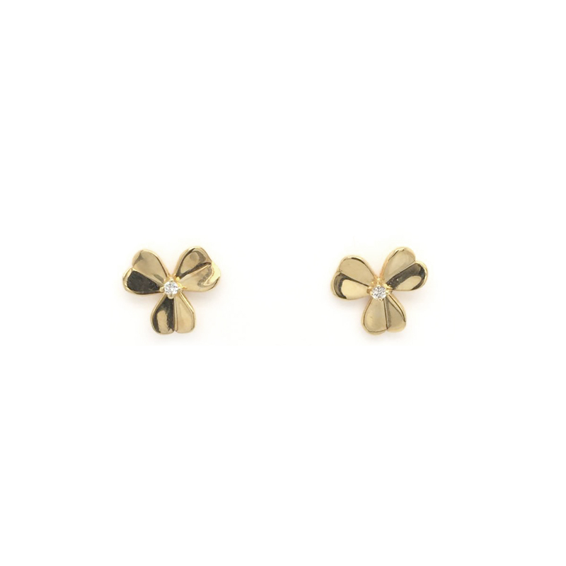 Vintage 18 Karat Yellow Gold Diamond Clover Stud Earrings