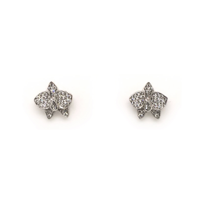 Vintage 18 Karat White Gold Diamond Orchid Stud Earrings