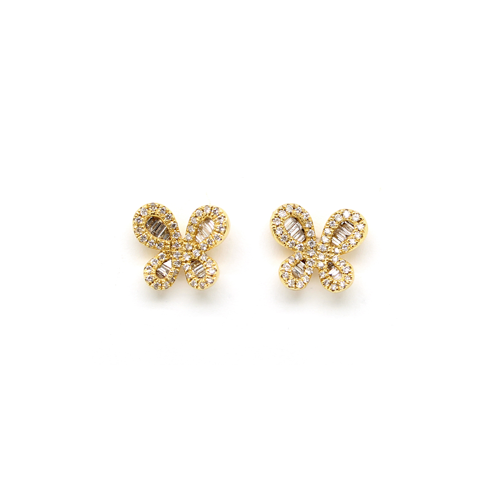 Estate 14 Karat Yellow Gold Diamond Butterfly Stud Earrings